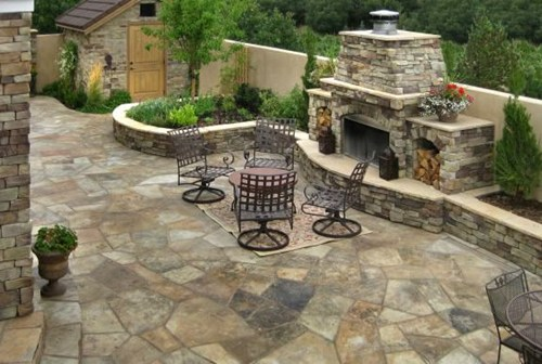 Traditional Flagstone: Flagstone Patio Fireplace